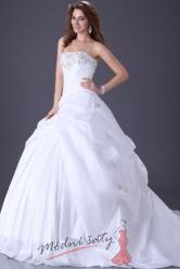 Bílé svatební šaty s výšivkou