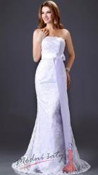 Bílé svatební šaty s krajkou korzetové