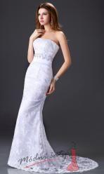 Bílé svatební šaty s krajkou a mašlí