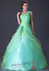 Zelenkavé plesové šaty přes rameno