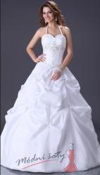 Bílé svatební šaty s vázáním za krkem