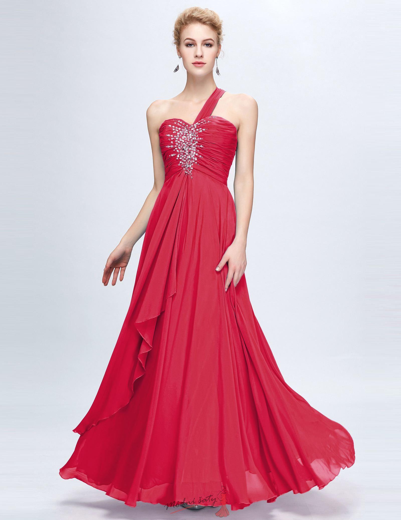 5bf8d2852e8b Vel. 32. Červené plesové šaty se stříbrnými kamínky