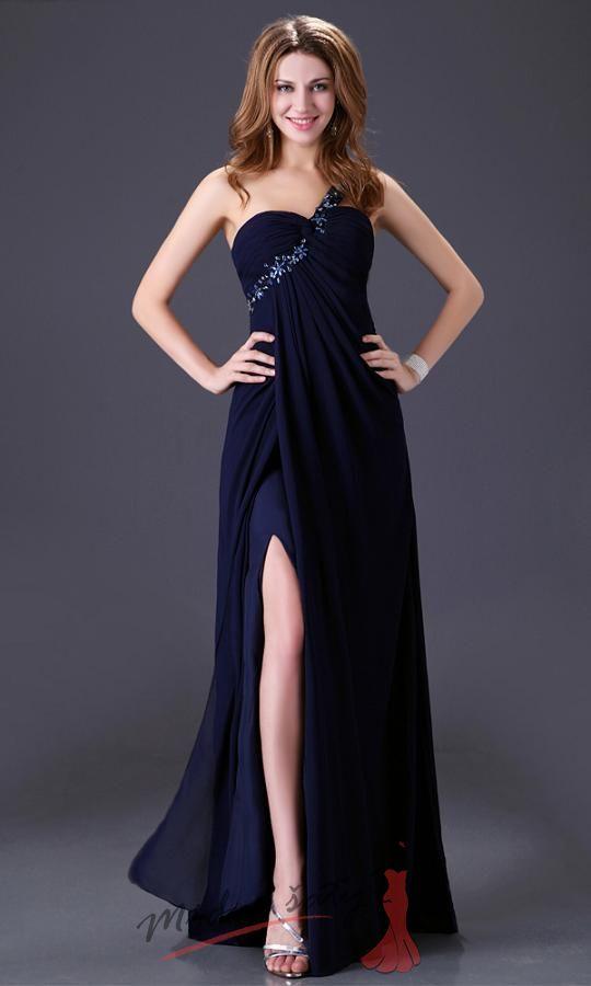 Plesové šaty s rozparkem a korálky – více barev c3cbf398b9