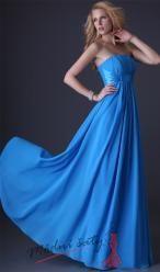 Modré plesové šaty se stuhou