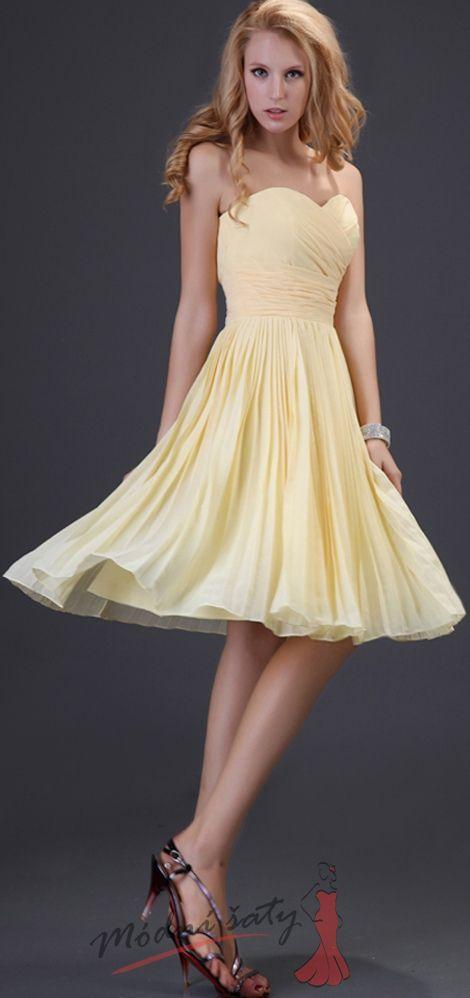 ce2121bfba7e Žluté elegantní koktejlové a plesové šaty
