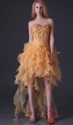 Zlaté plesové šaty s odvážnou sukní