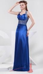 Tmavě modré úzké šaty s flitry.