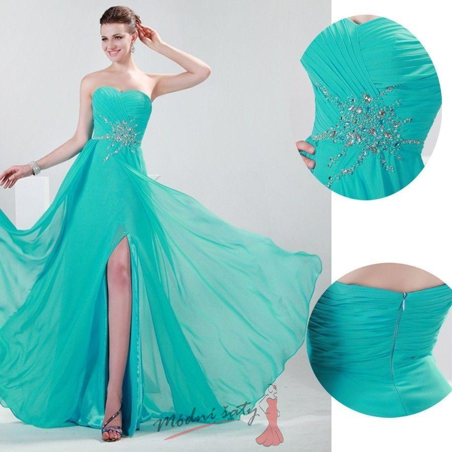 66d4bfa11a1 Tyrkysové plesové šaty s vyšíváním.