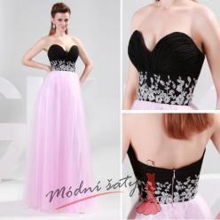 Plesové šaty s černým korzetem a růžovou sukní.