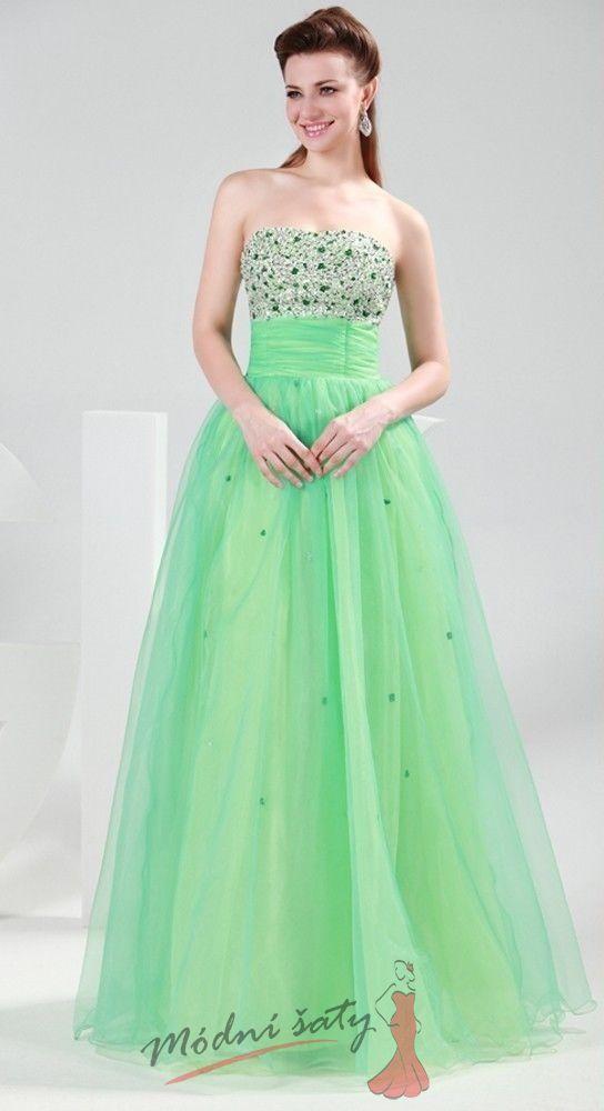 Plesové šaty zelenkavé barvy f81232c6ca