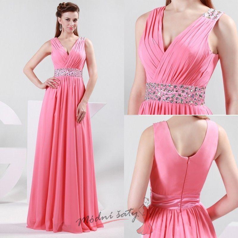 865249e53ff2 Růžové plesové šaty s výstřihem do V.