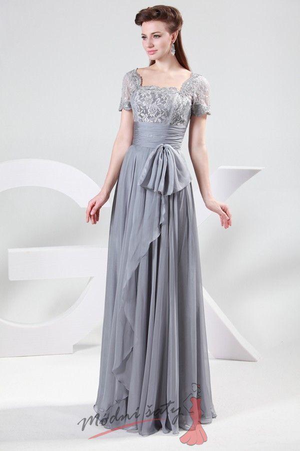 e4ddbf55e21 Šedé společenské šaty s krajkou.