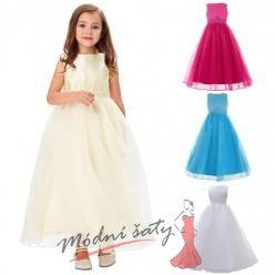 Šaty pro malou družičku bílé s drobnou výšivkou