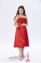 Šaty pro malou družičku červené na ramínkách