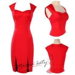 Červené a černé pouzdrové koktejlové šaty.