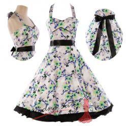 Retro šaty se zelenomodrými kvítky