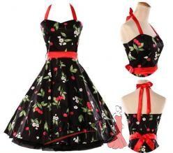 Černé retro šaty s třešněmi