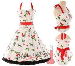 Bílé retro šaty s třešněmi