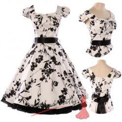 Bílé retro šaty s černými květinami