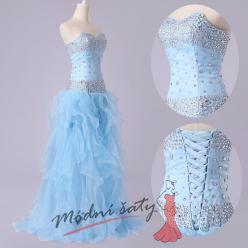 Nařasené plesové šaty s kamínky ve dvou barvách