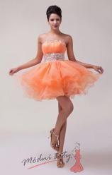 Oranžové koktejlové šaty