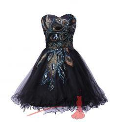 Koktejlové šaty s pavím vzorem - více barev