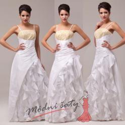 Bílé plesové šaty se zlatým živůtkem