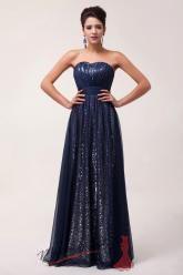 Třpytivé šaty s flitry tmavě modré