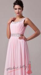 Růžové šaty s kulatým výstřihem