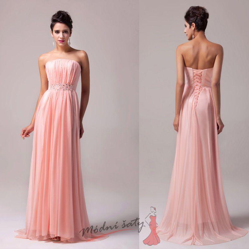 8452c7f08379 Lososové plesové šaty korálky