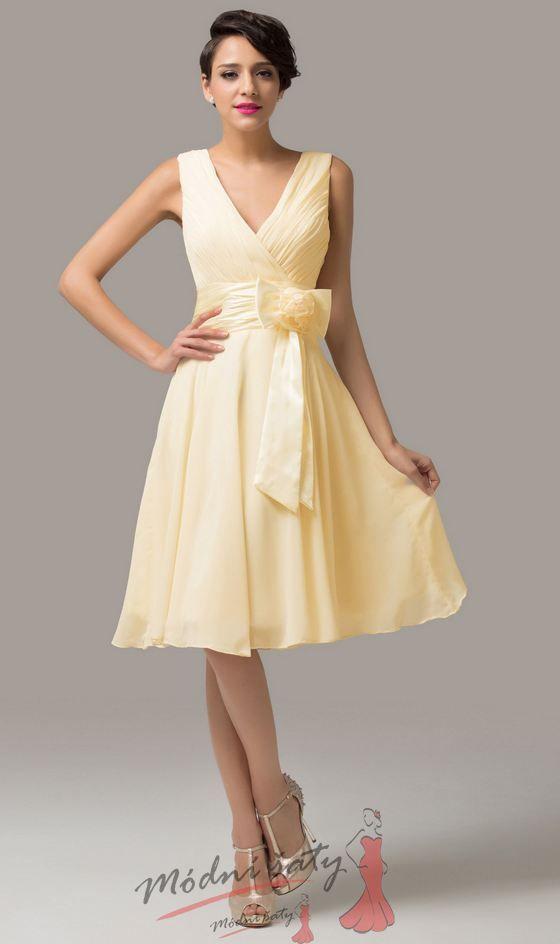 Žluté koktejlové šaty s květinou ke kolenům ec0e61c7ea