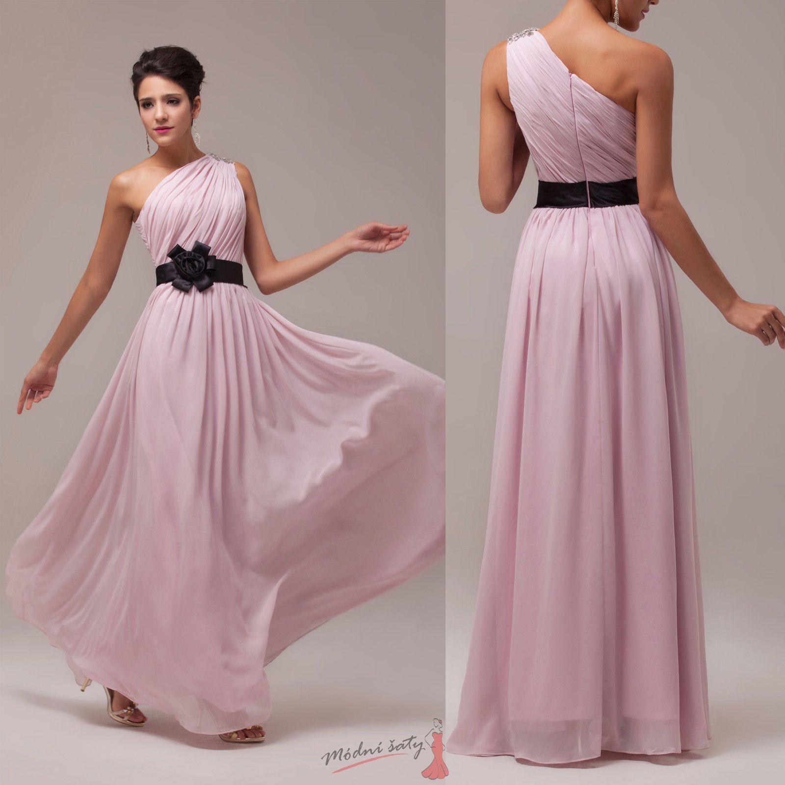 31f9787b4aba Růžové šaty přes rameno s černým páskem