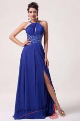 Tmavě modré šaty s rozparkem