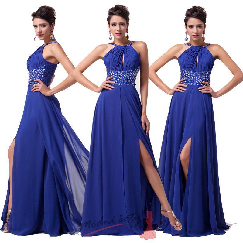 04b7a5aa0fd9 Tmavě modré šaty s rozparkem