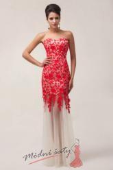 Krajkové šaty s bílou sukní - více barev.