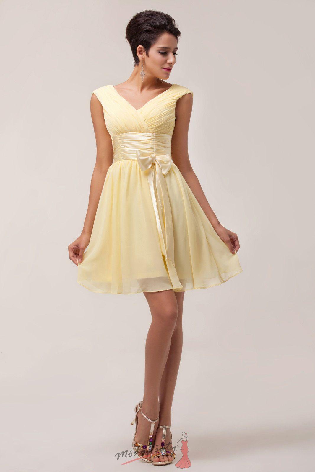 Žluté koktejlové šaty s mašlí. 2a40540aea