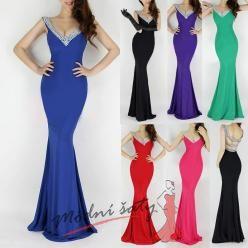 Plesové šaty s holými zády a hlubokým výstřihem - více barev.