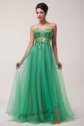 Zelené šaty pro družičku se třpytivým korzetem