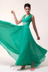 Zelené dlouhé společenské šaty s výstřihem do V
