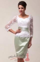 Vel. 42.- Bílé společenské šaty s krajkou, k promoci či k ma