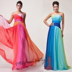 Duhové plesové šaty  vel. 48 až 54