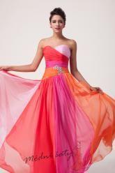 Duhové plesové šaty - více barev.