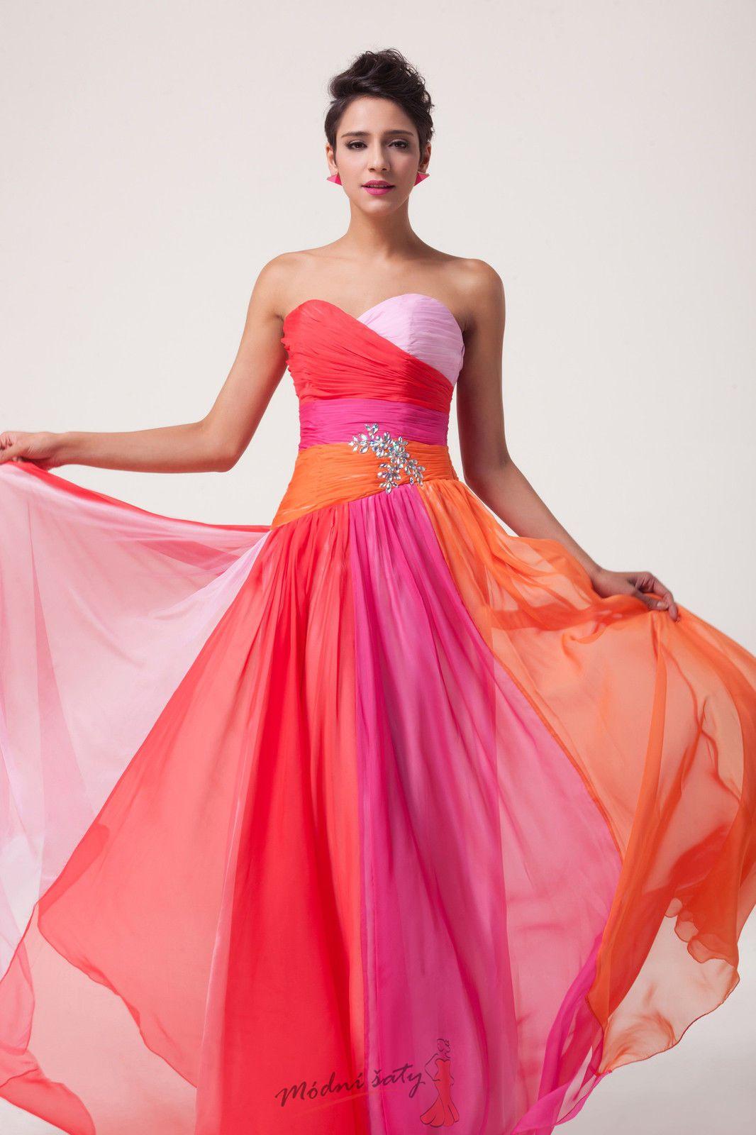 Duhové plesové šaty 5fc680cbb64
