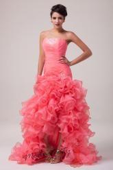Lososové plesové šaty s kankánovou sukní