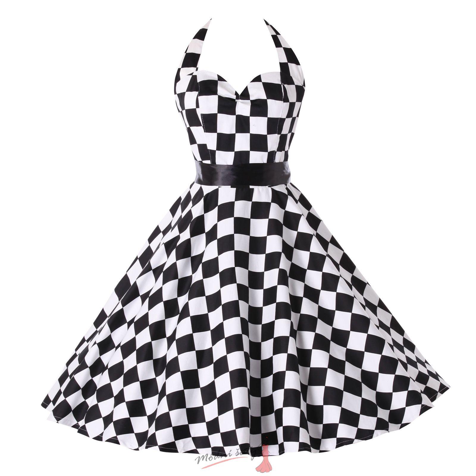 2e49e45e812 Retro šaty se zavazováním za krk - různé barvy a vzory