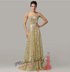 Dlouhé zlaté šaty s flitry