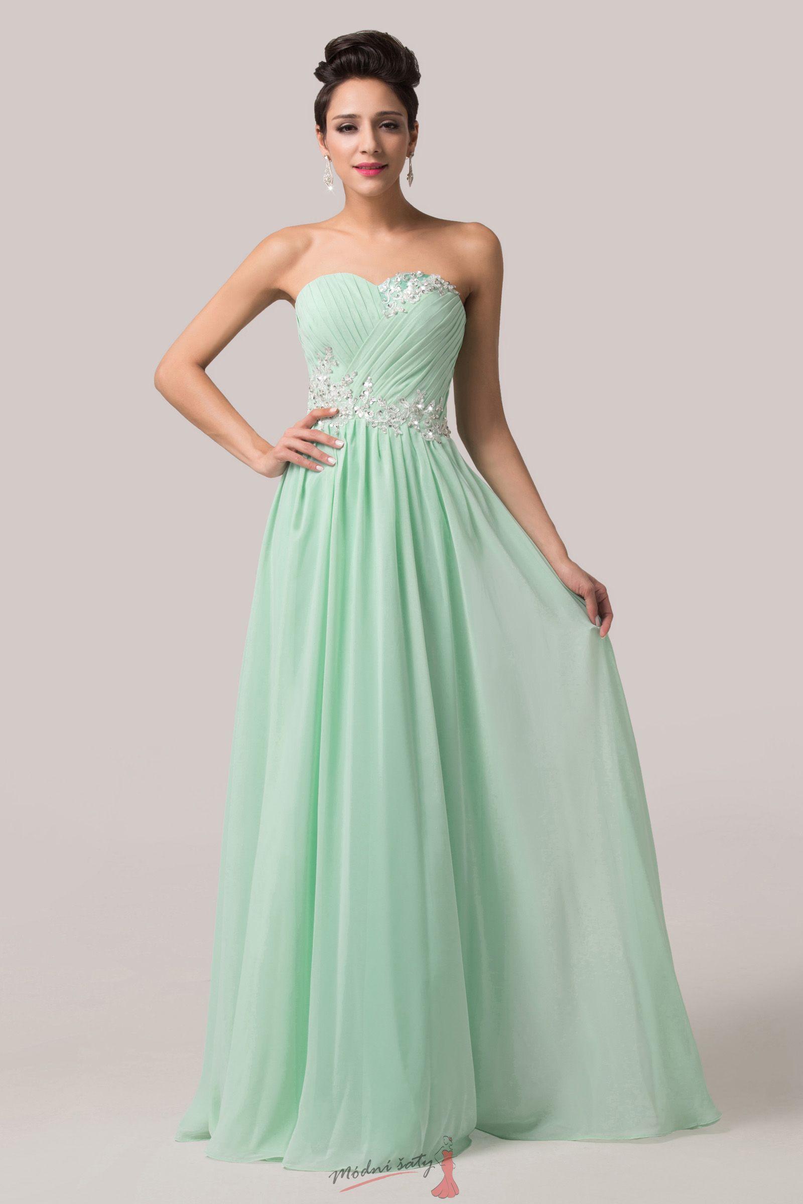 Plesové zelenkavé šaty bez ramínek e6aefa39449