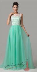 Zelenkavé šaty s bílým krajkovým vrškem