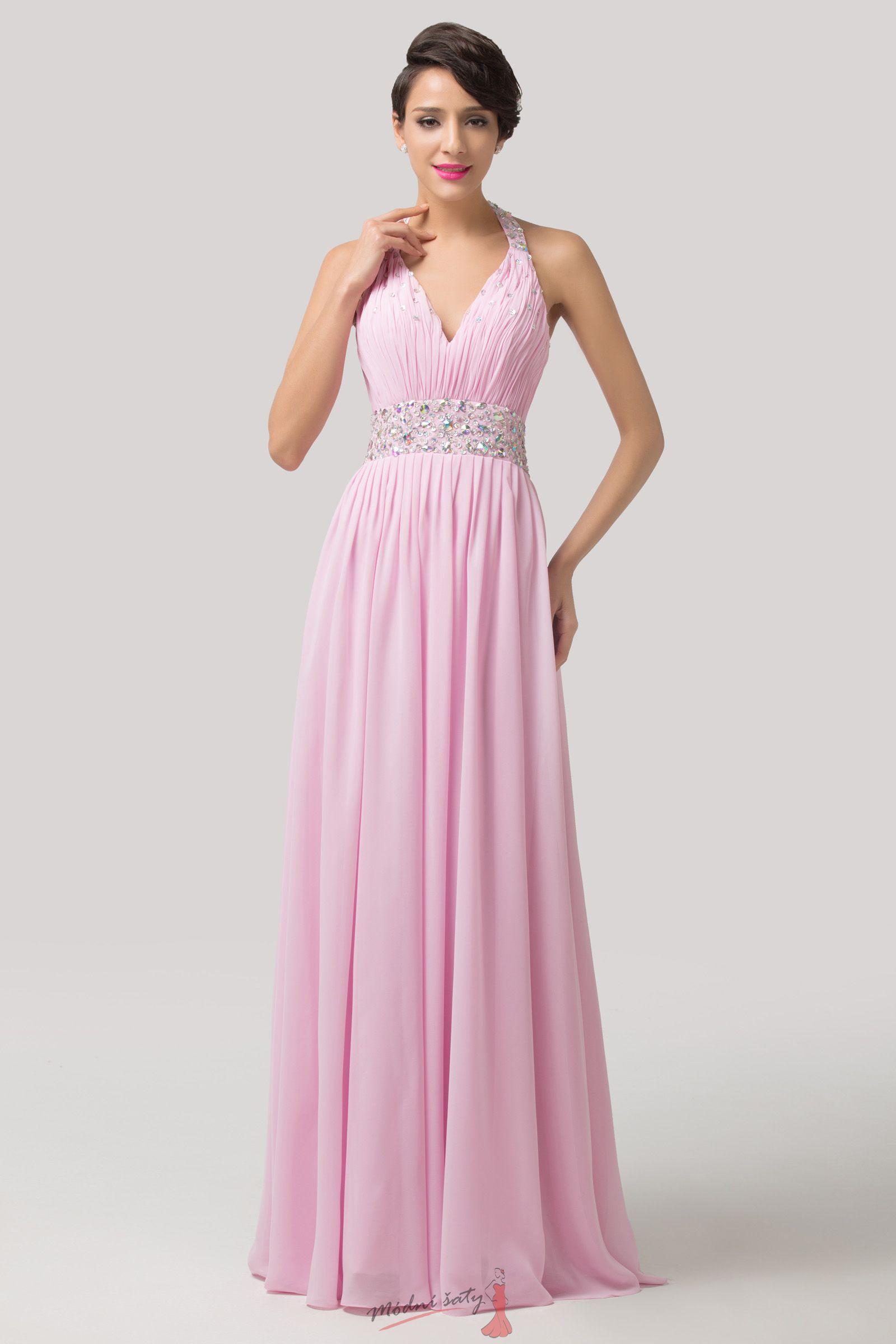 Růžové plesové šaty za krk 60475fc7ec