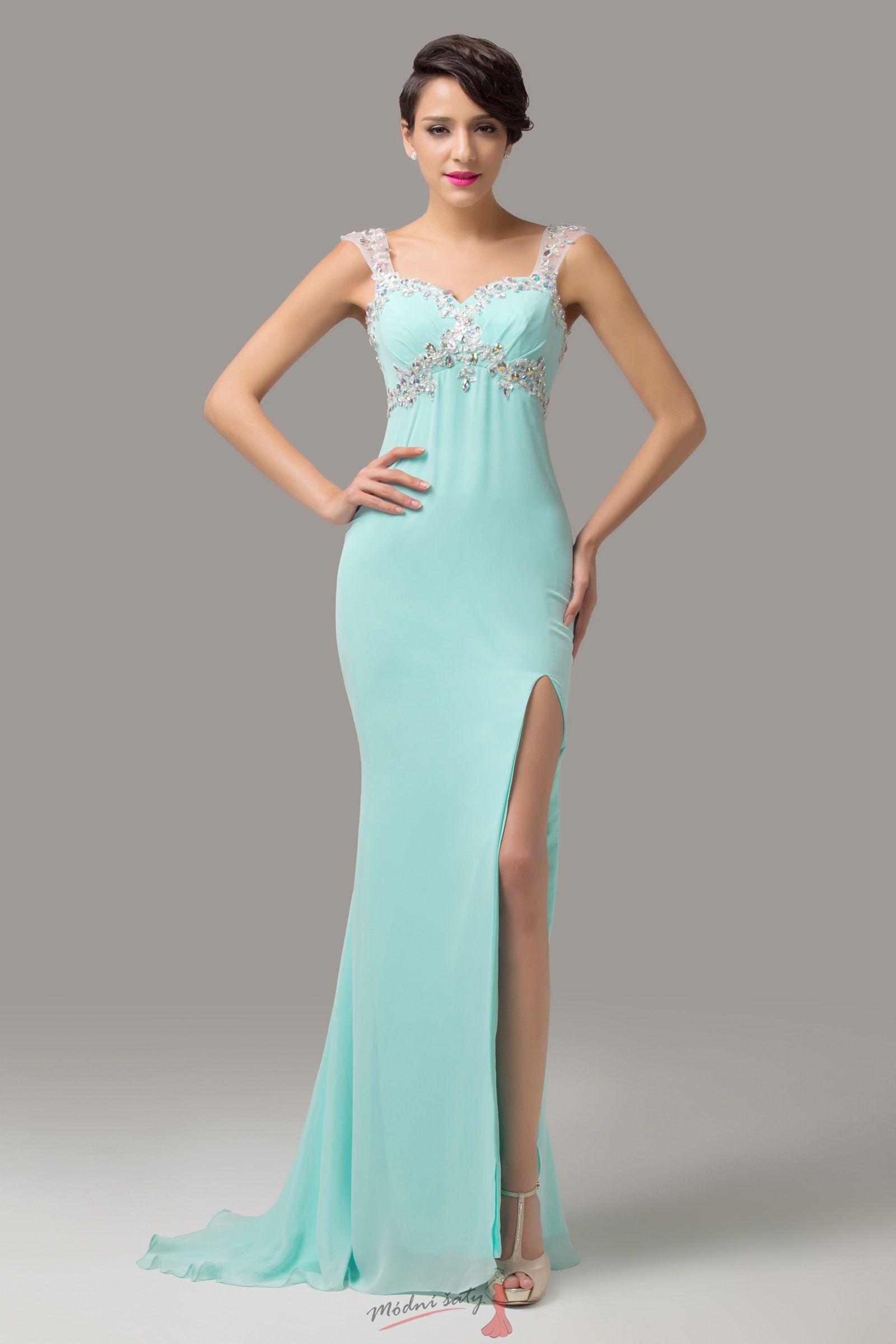 Pastelové plesové šaty s rozparkem - více barev 720fc92a44